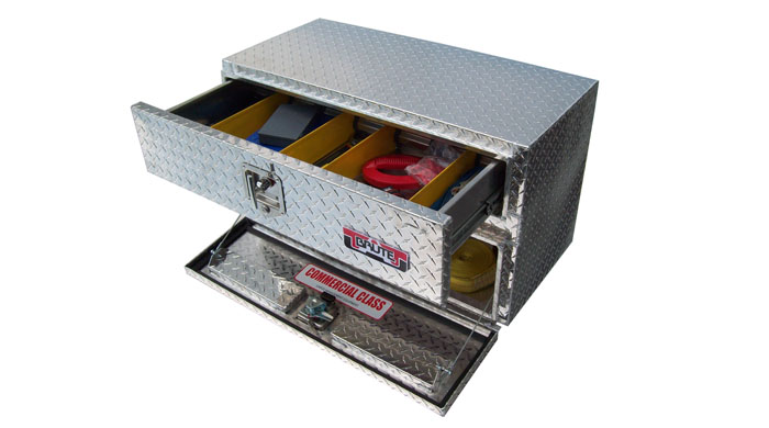 Underbody tool box with top drawer